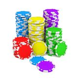 3d rendering of several stacks of gambling chips in green, yellow, red, blue and purple colors on a white background. Chips denominations. Casino money. Cash Royalty Free Stock Photo