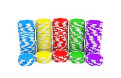 3d rendering of several stacks of gambling chips in green, yellow, red, blue and purple colors on a white background. Chips denominations. Casino money. Cash Royalty Free Stock Photography
