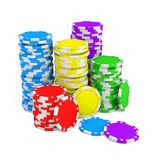 3d rendering of several stacks of gambling chips in green, yellow, red, blue and purple colors on a white background. Chips denominations. Casino money. Cash Royalty Free Stock Image
