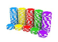 3d rendering of several stacks of gambling chips in green, yellow, red, blue and purple colors on a white background. Chips denominations. Casino money. Cash Stock Photos