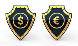 3d shields with dollar and euro currency symbol Royalty Free Stock Photography