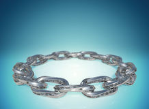 3D rendering shiny chrome chain links highly detail design on a blue gradient background with copy space. Stock Images