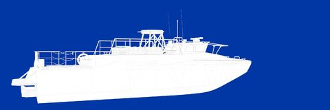 3d rendering of a ship on a blue background blueprint. Shape Royalty Free Stock Photos