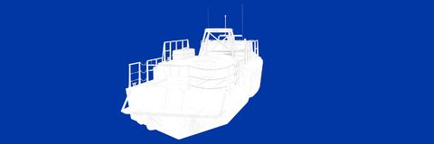3d rendering of a ship on a blue background blueprint. Shape Stock Image