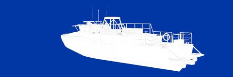 3d rendering of a ship on a blue background blueprint. Shape Royalty Free Stock Image
