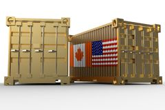 3d rendering of a shipping cargo containers with USA and Canada flag. Isolated on white background stock photo