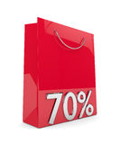 3d rendering of shopping bag and 70% discount over white. Background Stock Illustration