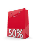 3d rendering of shopping bag and 50% discount over white. Background royalty free illustration