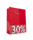 3d rendering of shopping bag and 30% discount over white. Background Royalty Free Stock Image