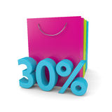3d rendering of shopping bags and 30%  discount cube over white. 3d rendering of shopping bags and 30% discount cube over white background Royalty Free Stock Images