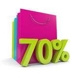 3d rendering of shopping bags and 70% discount over white. Background Royalty Free Stock Photo