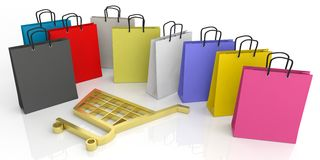 3d rendering shopping bags and shopping cart symbol. On white background Royalty Free Stock Image