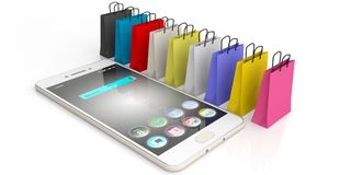 3d rendering shopping bags and a smart phone. On white background Stock Images