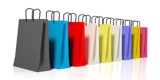 3d rendering shopping bags on white background. 3d rendering miscellaneous colors shopping bags on white background Royalty Free Stock Image