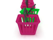 3D rendering of a shopping baskets Stock Photography