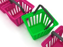 3D rendering of a shopping baskets Stock Photos
