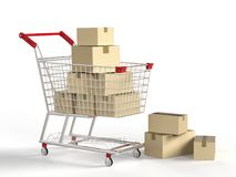 Cart with boxes. 3d rendering shopping cart full with carton boxes Royalty Free Stock Image