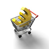 3D rendering shopping cart with golden euro sign Royalty Free Stock Images
