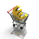 3D rendering shopping cart with golden euro sign Royalty Free Stock Photo