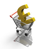 3D rendering shopping cart with golden pound sterling symbol. Top view, isolated on white Royalty Free Stock Photo