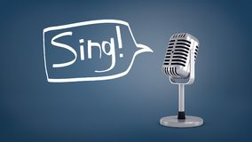 3d rendering of a short silver retro microphone stands on a blue background with a speech bubble as if saying a word. Sing. Arts and entertainment. Show stock photography