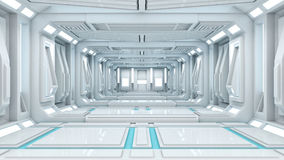 3d rendering Sifi lab. In white space with the blue power Stock Photos