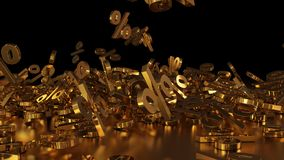 3D rendering of a large number of percent signs falling into a heap. 3D rendering of signs percent, falling into a heap. Volumetric signs with a reflective Royalty Free Stock Photography