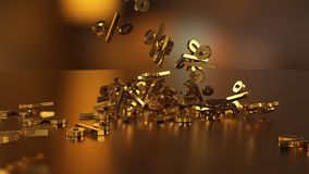 3D rendering of a large number of percent signs falling into a heap. 3D rendering of signs percent, falling into a heap. Volumetric signs with a reflective Royalty Free Stock Photos
