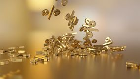 3D rendering of a large number of percent signs falling into a heap. 3D rendering of signs percent, falling into a heap. Volumetric signs with a reflective Royalty Free Stock Image