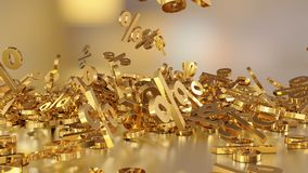 3D rendering of a large number of percent signs falling into a heap. 3D rendering of signs percent, falling into a heap. Volumetric signs with a reflective stock illustration