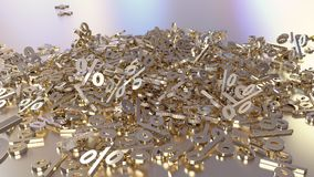 3D rendering of a large number of percent signs falling into a heap. 3D rendering of signs percent, falling into a heap. Volumetric signs with a reflective vector illustration