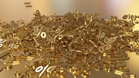 3D rendering of a large number of percent signs falling into a heap. 3D rendering of signs percent, falling into a heap. Volumetric signs with a reflective Royalty Free Stock Images