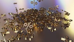 3D rendering of a large number of percent signs falling into a heap. 3D rendering of signs percent, falling into a heap. Volumetric signs with a reflective Stock Photo