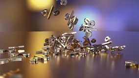 3D rendering of a large number of percent signs falling into a heap. 3D rendering of signs percent, falling into a heap. Volumetric signs with a reflective Royalty Free Stock Photo