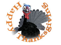 3D rendering of a silly smiling toon turkey. A funny silly looking cartoon turkey smiling and looking very happy inside the text Happy Thanksgiving, 3D stock illustration