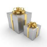 3d rendering of silver gift boxes with golden ribbon  ov. Er white background Royalty Free Stock Photography