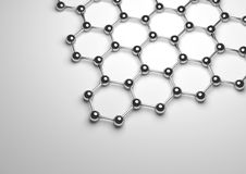 3D Rendering of Silver Graphene Surface Stock Images