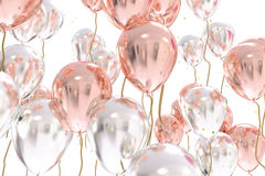 3D rendering of silver and rose balloons Royalty Free Stock Images