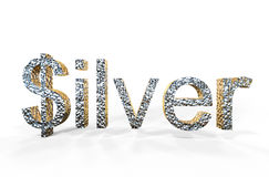 3d rendering of silver written with dollar S Stock Image