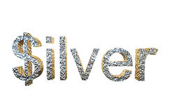 3d rendering of silver written with dollar S Royalty Free Stock Photos