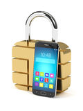 3d rendering of sim padlock and mobile phone over white Royalty Free Stock Photos
