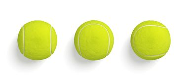 3d rendering of similar bright yellow tennis balls hanging on white background in top view. Tennis game. Sport gear. Soft tennis balls stock image