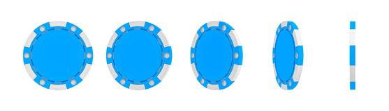 3d rendering of a single blue casino chip shown in different views from full front to a slim side view. Casino strategy. Win or lose money. Casino and lottery royalty free illustration