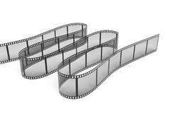 3d rendering of a single film strip arranged in turns and bends on white background. Media and art. Movies and films. Retro technologies Stock Photos