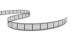 3d rendering of a single film strip arranged in turns and bends on white background. Media and art. Movies and films. Retro technologies Stock Photography