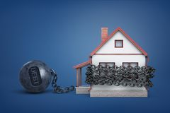 3d rendering of a single house bound by iron chain with a word Debt on an iron ball. Mortgage debt. Grace period. Interest and bank loans stock illustration