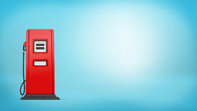 3d rendering of a single red gas pump with a nozzle attached standing on blue background. Royalty Free Stock Photography