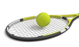 3d rendering a single tennis racquet lying with a yellow ball on top of its mesh head. royalty free stock photo
