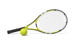 3d rendering a single tennis racquet lying with a yellow ball on white background. royalty free illustration
