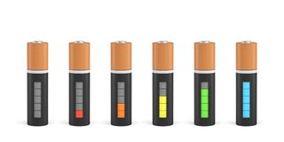 3d rendering of six AA type batteries with charge indicators in different stages of energy levels. Maximum charge. Depleted batteries. New and old portable stock illustration